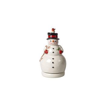 Nostalgic Melody bonhomme de neige rotatif, blanc, 9x9x17cm