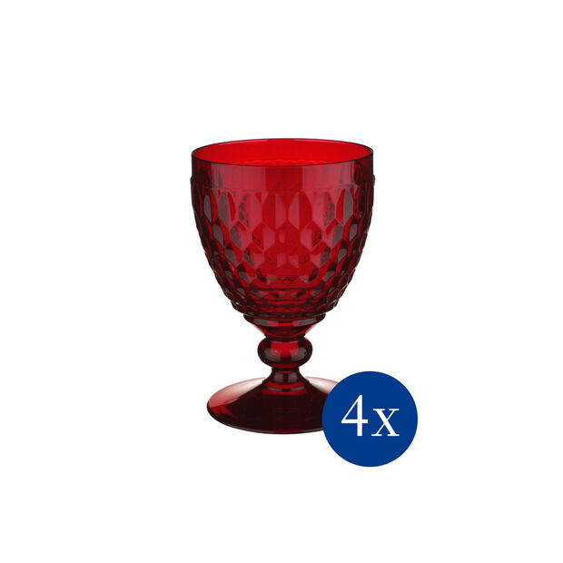 Boston coloured Verre a vin rouge red Set 4pc, , large
