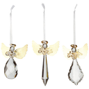 Winter Collage Accessoires Suspension en verre ange dorée set de 3 21x11,5x3cm