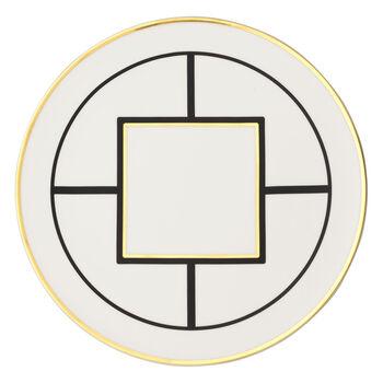 MetroChic assiette de présentation et plat à tarte, diamètre 33cm, blanc-noir-or