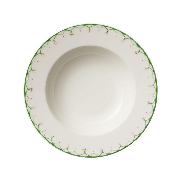 Colourful Spring assiette creuse, 25cm, 456ml, blanc/vert, , large