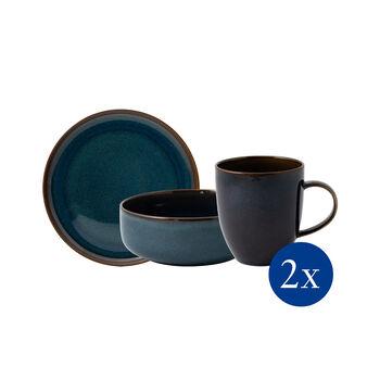 Crafted Denim ensemble pour le petit-déjeuner, bleu, 6pièces