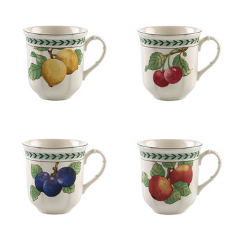 French Garden Modern Fruits mug à café XL, ensemble de 4pièces