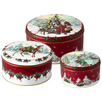 Winter Collage Accessoires Set d.3 boites a biscuits 19,7x9,4cm