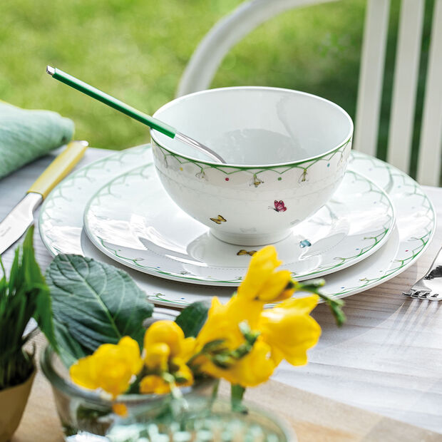 Colourful Spring grand plat creux, blanc/vert, , large