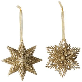 Christmas Decoration Susp. déco. étoile/flocon neige set de 2 10cm