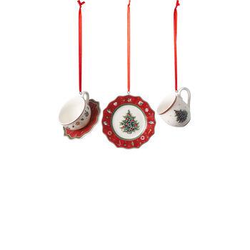 Toy's Delight Decoration ensemble d'ornement en forme de vaisselle, rouge, 4x7cm, 3pièces