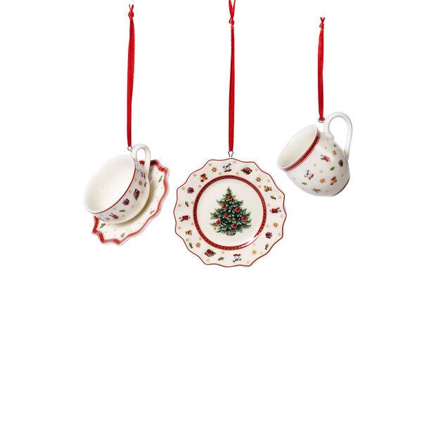 Toy's Delight Decoration ornements ensemble de vaisselle, blanc/rouge, 3pièces, 6,3cm, , large