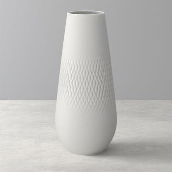 Manufacture Collier blanc Vase Carré haut 11,5x11,5x26cm