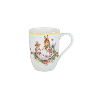Spring Awakening mug motif famille de lapins, 340ml, jaune/multicolore