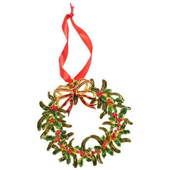 Winter Collage Accessoires suspension en métal, couronne de Noël, multicolore, 12cm