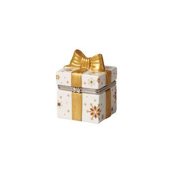 Christmas Toy's paquet-cadeau carré, doré/blanc, 7x6x9cm