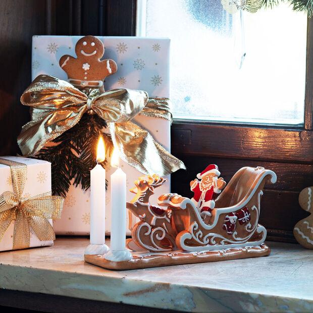 Winter Bakery Decoration traîneau en pain d'épices, marron/blanc, 23x8x10cm, , large