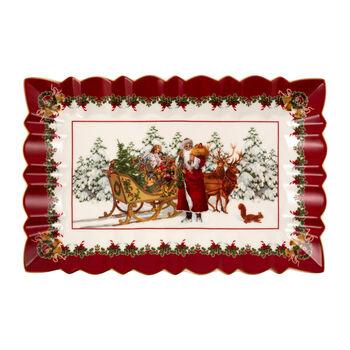 Toy's Fantasy plat à gâteau rectangulaire Père Noël avec traîneau, multicolore/rouge/blanc, 35x23x3,5cm