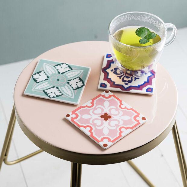 Table Accessories Dessous de verre ensemble 2p. Rose Caro 11x11cm, , large