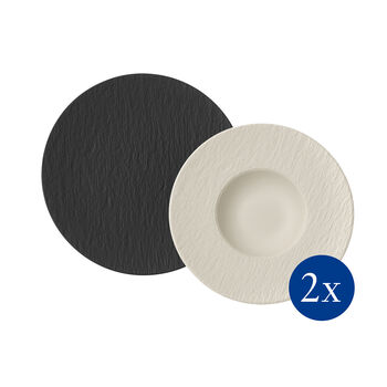 Manufacture Rock ensemble à pâtes, 4pièces, pour 2personnes, noir/blanc