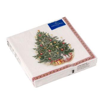 Winter Specials serviette de table sapin de Noël, verte/multicolore, 20pièces, 33x33cm