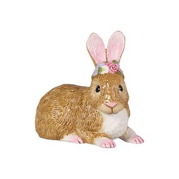 Easter Bunnies Lapin grd, allongé avec couronne fleurs 13x8x13cm