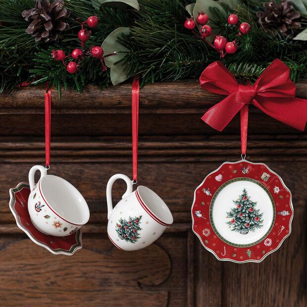 Toy's Delight Decoration ensemble d'ornement en forme de vaisselle, rouge, 4x7cm, 3pièces, , large