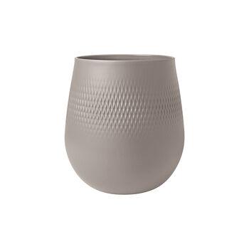 Manufacture Collier vase, 21x23cm, Carré, taupe
