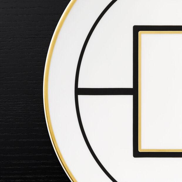 MetroChic assiette de présentation et plat à tarte, diamètre 33cm, blanc-noir-or, , large