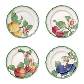 French Garden Modern Fruits ensemble de 4assiettes plates