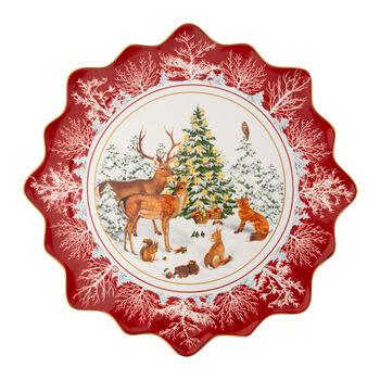 Toy's Fantasy grande assiette à pâtisserie animaux de la forêt, multicolore/rouge/blanc, 42x42x2cm