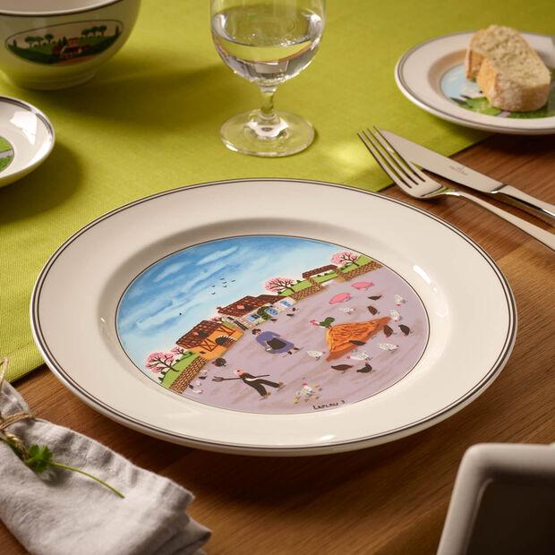 Design Naif assiette plate motif poulailler, , large