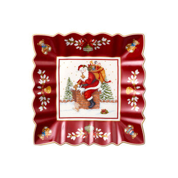 Toy's Fantasy coupe carrée motif Père Noël sur le toit, rouge/multicolore, 23x23x3,5cm