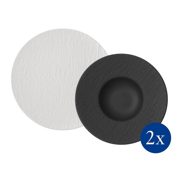 Manufacture Rock ensemble à pâtes, 4pièces, pour 2personnes, blanc/noir, , large