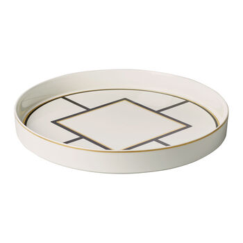 MetroChic coupe à servir et décorative, diamètre 33cm, profondeur 4cm, blanc-noir-or