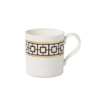 MetroChic mug à café, 11x8x9cm, blanc-noir-or