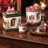 Christmas Toys Petite boîte cadeau ronde, rennes 9,5x9,5x10cm, , large