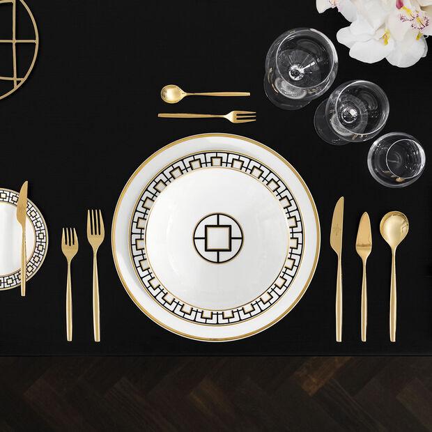 MetroChic assiette creuse, diamètre 20cm, profondeur 5cm, blanc-noir-or, , large
