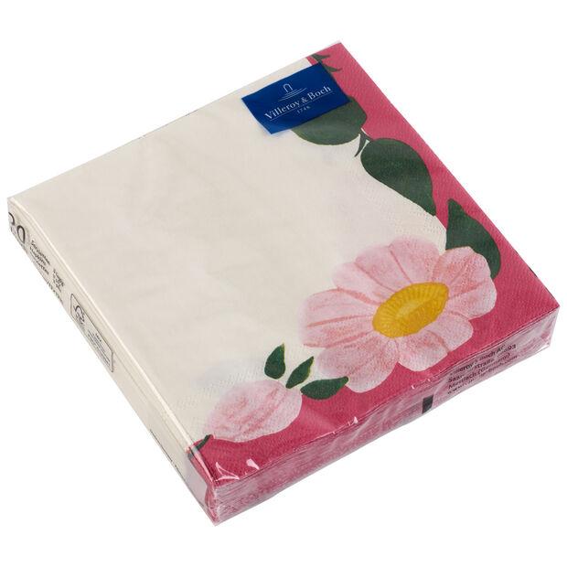 Serviettes en papier Rose Sauvage Framboise, 20pièces, 33x33cm, , large