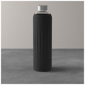 ToGo&ToStay gourde en verre, 1l, avec housse silicone, noire