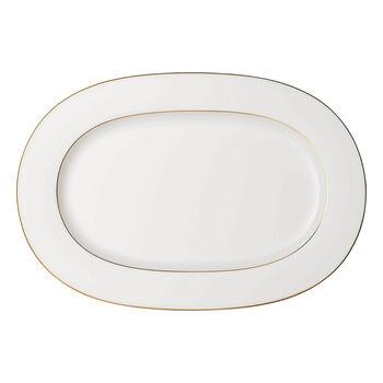 Anmut Gold plat ovale, longueur 41cm, blanc/or