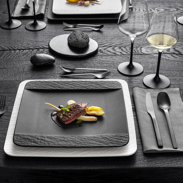 Manufacture Rock assiette plate carrée, noire/grise, 28x28x2cm, , large