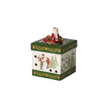 Christmas Toys Petite boîte cadeau carrée, Père Noël 9x9x13cm