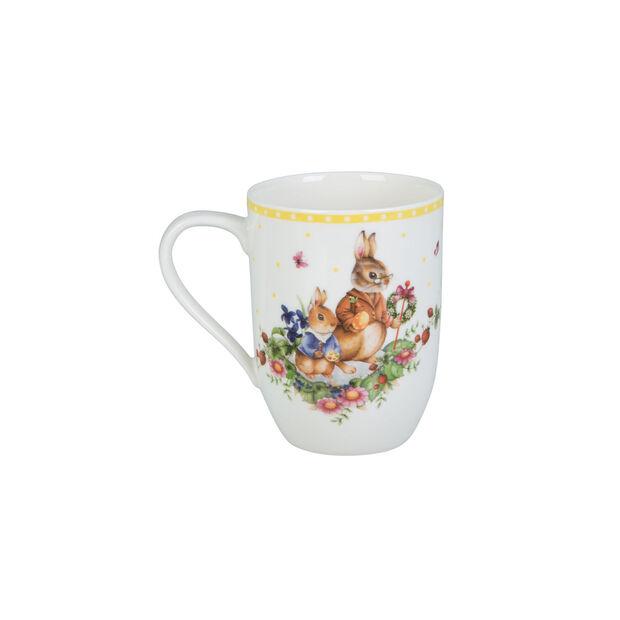 Spring Awakening mug motif famille de lapins, 340ml, jaune/multicolore, , large