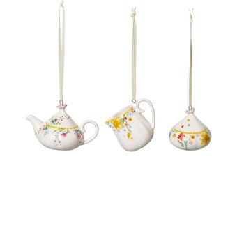 Spring Awakening ornements ensemble à café, 3pièces, jaune/multicolore