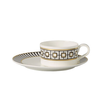 MetroChic Tasse à thé avec soucoupe 2pcs 18,5x18,5x5,5cm