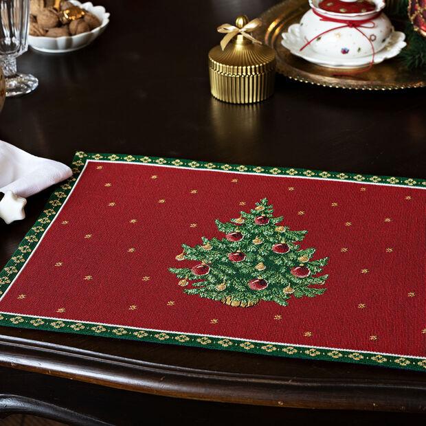 Toy's Delight set de table Gobelin motif sapin, rouge/multicolore, 32x48cm, , large