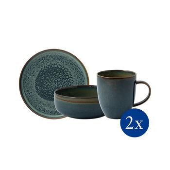 Crafted Breeze ensemble pour le petit-déjeuner, bleu-gris, 6pièces