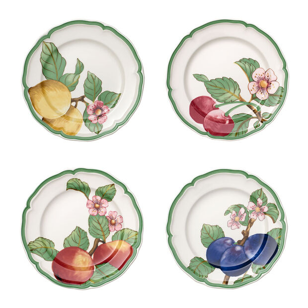 French Garden Modern Fruits ensemble de 4assiettes plates, , large