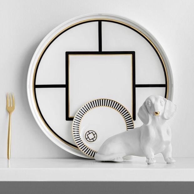 MetroChic coupe à servir et décorative, diamètre 33cm, profondeur 4cm, blanc-noir-or, , large