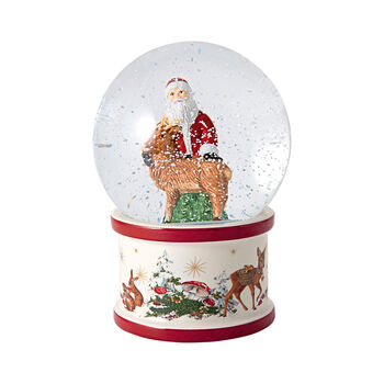 Christmas Toy's boule à neige Père Noël et cerf, 13x13x17cm