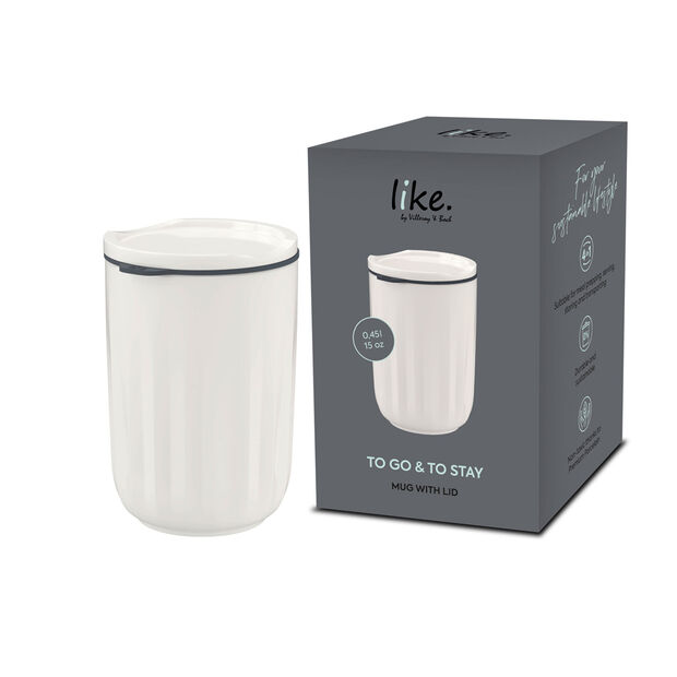 To Go & To Stay mug, avec couvercle, 450ml, blanc, , large