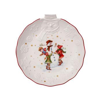 Toy's Fantasy coupe avec bonhomme de neige en relief, blanche/multicolore, 26x24,5x4,4cm