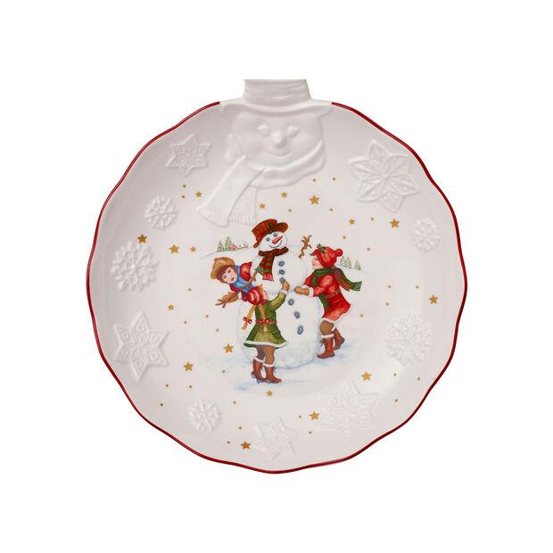 Toy's Fantasy coupe avec bonhomme de neige en relief, blanche/multicolore, 26x24,5x4,4cm, , large
